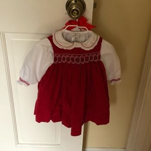 Red velvet dress with white button-down